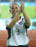 23 August 2004:  Christine Rampone celebrates with USA Fans after USA defeated Germany during the semifinal game at Pankritio Stadium in Heraklio, Greece.     USA defeated Germany, 2-1 in overtime.   Credit: Michael Pimentel / ISI