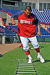 13 March 2008: Washington Nationals' catcher Johnny Estrada warms up prior to a Spring Training game against the Florida Marlins at Space Coast Stadium, in Viera, Florida. The Marlins defeated the Nationals 2-1 in the Grapefruit League matchup...Mandatory Photo Credit: Ed Wolfstein Photo
