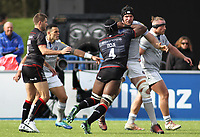 Maro Itoje of Saracens and Charlie Ewels of Bath Rugby clash during the Aviva Premiership match between Saracens and Bath Rugby at Allianz Park, Hendon, England on 26 March 2017. Photo by Stewart  Wright  / PRiME Media Images.