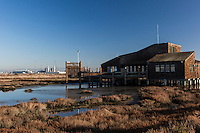 The Hayward Shoreline Interpretive Center in the foreground and the under-construction and nearly complete Russell City Energy Center, the  natural gas-powered power plant in the background, are separated by salt marsh wetlands along the shores of the San Francisco Bay.