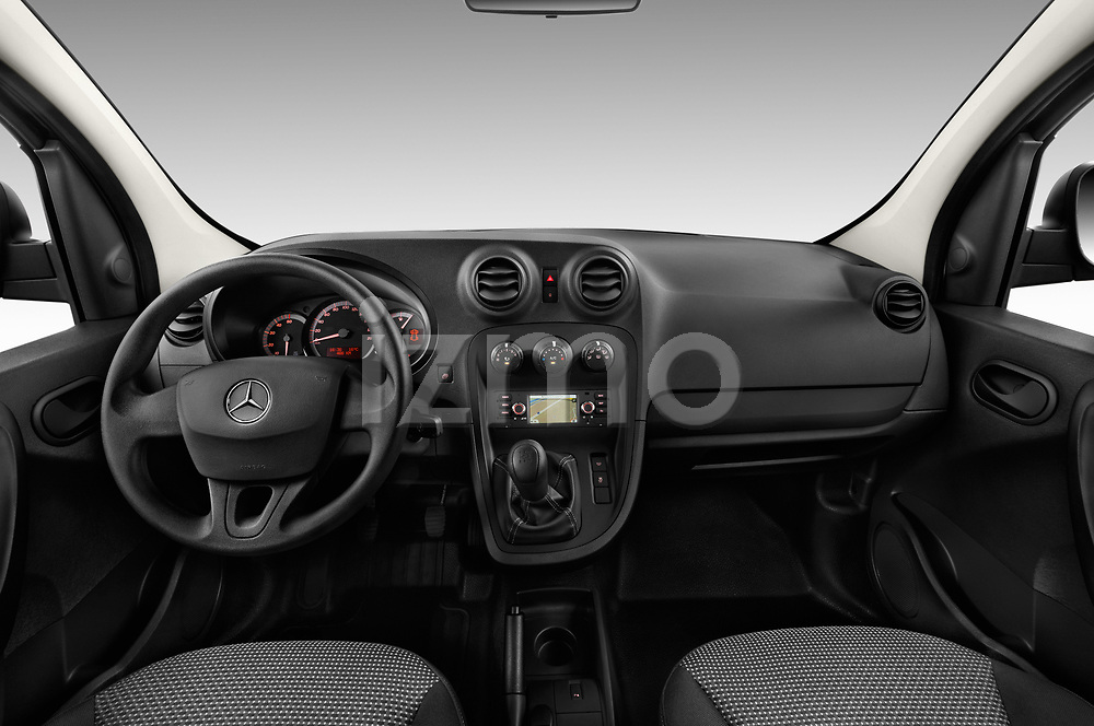 Stock photo of straight dashboard view of 2017 Mercedes Benz Citan Perfect-Tool 5 Door Cargo Van Dashboard