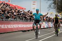 Victory for Michael Valgren Andersen (DEN/Astana) after beating Roman Kreuziger (CZE/Mitchelton Scott) in the sprint. <br /> <br /> 53th Amstel Gold Race (1.UWT)<br /> 1 Day Race: Maastricht &gt; Berg en Terblijt (263km)