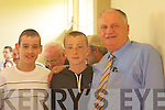 Fine Gael's Denis Stack with his son at the Listowel counting station on Saturday l-r: Gerard Mulivhill, Michael Stephen and Denis Stack. at the Listowel Town Council Elections counting centre on Saturday.