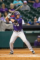 TCU Horned Frogs shortstop Keaton Jones #26 at bat during the NCAA baseball game against the Rice Owls on March 1, 2014 during the Houston College Classic at Minute Maid Park in Houston, Texas. Rice defeated TCU 1-0. (Andrew Woolley/Four Seam Images)