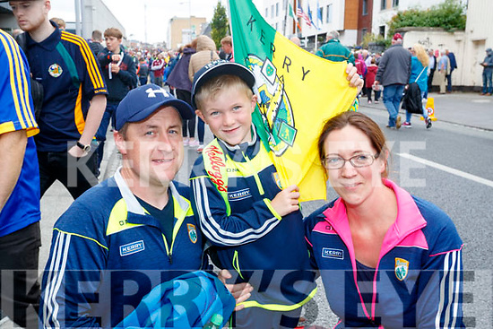 Cheering on Kerry at the All Ireland SFC quarter final Kerry v Galway in Croke Park, Dublin on Sunday, were l-r: John O'Gorman, Jack O'Gorman and Liz O'Groman, Ballybunion.