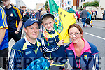 Cheering on Kerry at the All Ireland SFC quarter final Kerry v Galway in Croke Park, Dublin on Sunday, were l-r: John O'Gorman, Jack O'Gorman and Liz O'Groman, Ballybunion.