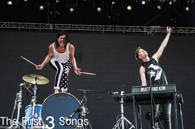Matt Johnson and Kim Schifino of Matt and Kim performs at the 2nd Annual BottleRock Napa Festival at Napa Valley Expo in Napa, California.