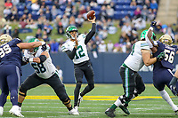 Annapolis, MD - October 26, 2019: Tulane Green Wave quarterback Justin McMillan (12) throws a touchdown pass during the game between Tulane and Navy at  Navy-Marine Corps Memorial Stadium in Annapolis, MD.   (Photo by Elliott Brown/Media Images International)