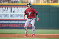 Jordan Danks (33) of the Lehigh Valley IronPigs takes his lead off of second base against the Charlotte Knights at BB&T BallPark on May 30, 2015 in Charlotte, North Carolina.  The IronPigs defeated the Knights 1-0.  (Brian Westerholt/Four Seam Images)