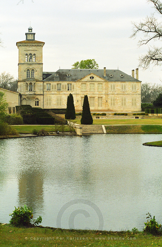 Chateau Lagrange with its tower and Ornamental lake, Château, St Saint Julien, Gironde, France. Médoc Medoc Bordeaux Gironde Aquitaine France Europe in winter