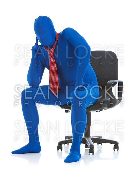 Series with a man dressed in a blue bodysuit or morphsuit.  Isolated on white background.  Good for situations where an anonymous person is needed to illustrate something