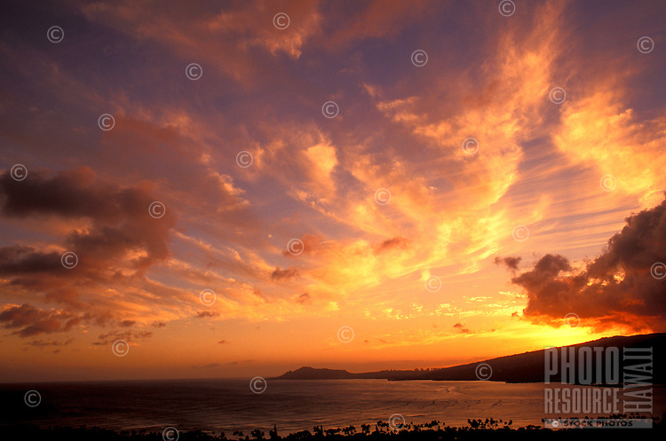 Sunset at Hanauma Bay on the Island of Ohau