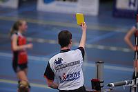 VOLLEYBAL: SNEEK: Sneker Sporthal, DELA League Play-Off Finale, 4e wedstrijd, 01-04-2012, VC Sneek DS1 - Sliedrecht Sport DS1, eindstand 1-3, gele kaart voor VC Sneek, ©foto Martin de Jong