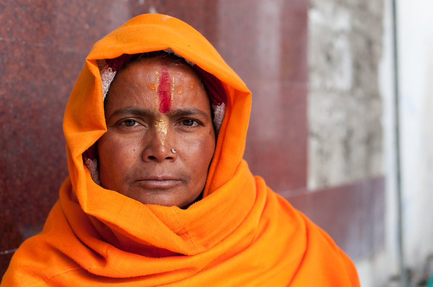 A devotee at Gangotri - the temple near the source of the Ganges