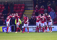 Crewe Alexandra's Chris Porter celebrates scoring the opening goal with team-mates<br /> <br /> Photographer Andrew Vaughan/CameraSport<br /> <br /> The EFL Sky Bet League Two - Crewe Alexandra v Lincoln City - Wednesday 26th December 2018 - Alexandra Stadium - Crewe<br /> <br /> World Copyright &copy; 2018 CameraSport. All rights reserved. 43 Linden Ave. Countesthorpe. Leicester. England. LE8 5PG - Tel: +44 (0) 116 277 4147 - admin@camerasport.com - www.camerasport.com