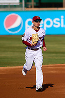 Wisconsin Timber Rattlers outfielder Jesus Lujano (7) jogs in from the outfield between innings during a Midwest League game against the Burlington Bees on April 26, 2019 at Fox Cities Stadium in Appleton, Wisconsin. Wisconsin defeated Burlington 2-0. (Brad Krause/Four Seam Images)