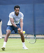 June 10th 2017,  Nottingham, England; ATP Aegon Nottingham Open Tennis Tournament day 1; Backhand from Takanyi Garanganga of Zimbabwe to Luke Bainbridge of Great Britain