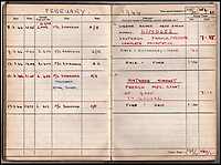 BNPS.co.uk (01202 558833)<br /> Pic: IAA/BNPS<br /> <br /> Logbook entry from February 1944 of a Tallboy attack on Limoges  - '1x 12,000lb, Total devastation'.<br /> <br /> A fascinating and historic logbook and photographs from a Dambuster's hero who also went on many other famous raids during WW2 has come light. <br /> <br /> The remarkable collection belonged to Flight Sergeant Leonard Sumpter who was a bomb aimer on the iconic Dam's mission and put together a unique scrapbook of his thrilling wartime career in Bomber Command's most famous squadron.<br /> <br /> As well as the bouncing bomb sortie, the ace bomb aimer also dropped Barnes Wallis's later invention of massive Tallboy and Grand Slam 'bunker busting' bombs, the largest non nuclear warheads of the war.<br /> <br /> Only the elite 617 squadron were entrusted with delivering these hugely valuable weapons onto their vital targets, that included U-boat pens, V2 rocket sites and even Hitler's Bavarian hideaway the Eagles Nest.<br /> <br /> Also included are pictures Mr Sumpter took in 1947 during a summer excusion to visit some of the sites he had attacked during the conflict.<br /> <br /> Flt Sgt Sumpter's daughter has decided to put the photo album up for auction together with his logbook and his personal scrapbook.