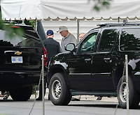 United States President Donald J. Trump boards his motorcade to go golfing with Senator Lindsey Graham(R-SC) at Trump National Goff Course in Sterling Virginia, October 7, 2018. <br /> CAP/MPI/RS<br /> &copy;RS/MPI/Capital Pictures