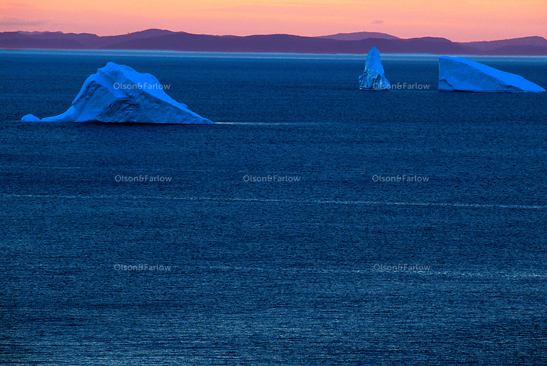 Icebergs outside St. Johns Newfoundland.