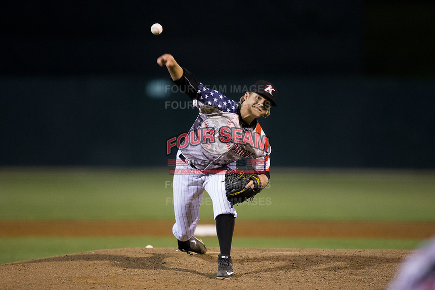 Kannapolis Intimidators relief pitcher Ben Wright (13) delivers a pitch to the plate against the Lakewood BlueClaws at Kannapolis Intimidators Stadium on April 7, 2017 in Kannapolis, North Carolina.  The BlueClaws defeated the Intimidators 6-4.  (Brian Westerholt/Four Seam Images)