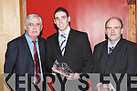 PRESENTATION: At the Beale GAA Social on Friday night a presentation was made to Jeremy King in recognition of his All-Ireland Junior Medal with Kerry in 2006. Photographed were, l-r: Niall Horgan (Chairman), Jeremy King and Pat Val Diggin (Treasurer)..