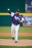 Binghamton Rumble Ponies starting pitcher Donovan Hand (16) delivers a pitch during a game against the Akron RubberDucks on May 12, 2017 at NYSEG Stadium in Binghamton, New York.  Akron defeated Binghamton 5-1.  (Mike Janes/Four Seam Images)