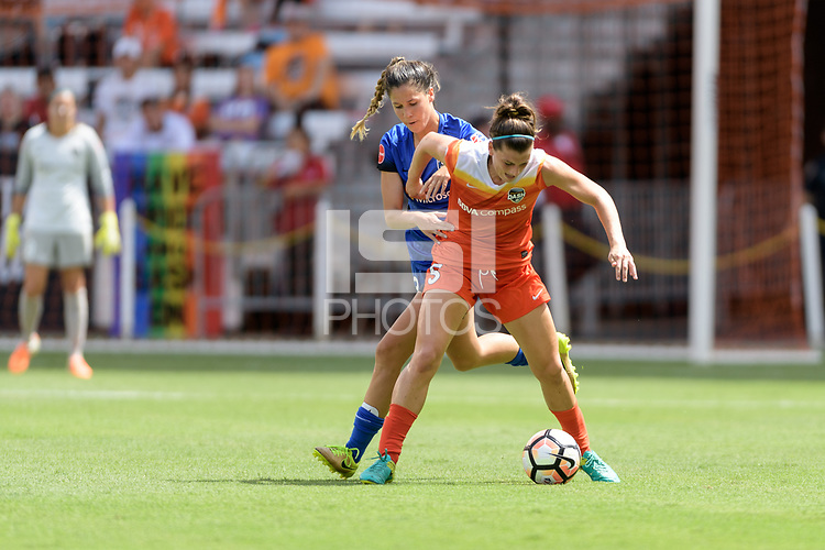 Houston, TX - Saturday May 27, 2017: Katie Johnson and Cari Roccaro (5) of the Houston Dash battle for control of the ball during a regular season National Women's Soccer League (NWSL) match between the Houston Dash and the Seattle Reign FC at BBVA Compass Stadium.