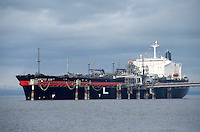 The Arctic Sun takes on a load of liquified natural gas bound for Japan in 1998 at an LNG plant owned by ConocoPhillips and Marathon Oil Corp. in Nikiski, Alaska. The shipment was ConocoPhillip's 1,000th to leave the Nikiski dock for Japan. The Nikiski plant is the only plant permitted in the United States to export LNG. The plant will close in the spring of 2011. ConocoPhillips cited declining market conditions in Asia and difficulty obtaining enough natural gas in Alaska as reasons for closing the plant.