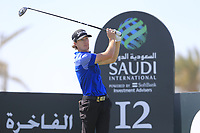 Sean Crocker (USA) on the 12th tee on the 11th tee during the final round of  the Saudi International powered by Softbank Investment Advisers, Royal Greens G&CC, King Abdullah Economic City,  Saudi Arabia. 02/02/2020<br /> Picture: Golffile | Fran Caffrey<br /> <br /> <br /> All photo usage must carry mandatory copyright credit (© Golffile | Fran Caffrey)