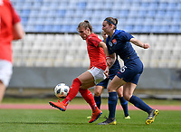 20190304 - LARNACA , CYPRUS : Austrian Viktoria Pinther pictured in a duel with Slovakian Michaela Motovska during a women's soccer game between Slovakia and Austria , on Monday 4 th March 2019 at the GSZ Stadium in Larnaca , Cyprus . This is the third and last game in group C for both teams during the Cyprus Womens Cup 2019 , a prestigious women soccer tournament as a preparation on the Uefa Women's Euro 2021 qualification duels. PHOTO SPORTPIX.BE | DAVID CATRY