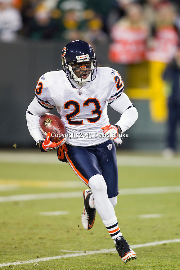 Chicago Bears kick returner/wide receiver Devin Hester (23) returns a kick during a week 16 NFL football game against the Green Bay Packers on December 25, 2011 in Green Bay, Wisconsin. The Packers won 35-21. (AP Photo/David Stluka)