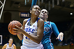 31 December 2015: Duke's Azura Stevens (left) and UNCW's Jordan Henry (behind). The Duke University Blue Devils hosted the University of North Carolina Wilmington Seahawks at Cameron Indoor Stadium in Durham, North Carolina in a 2015-16 NCAA Division I Women's Basketball game. Duke won the game 78-56.