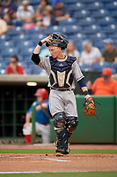 Lakeland Flying Tigers catcher Jon Rosoff (29) during a Florida State League game against the Clearwater Threshers on May 14, 2019 at Spectrum Field in Clearwater, Florida.  Clearwater defeated Lakeland 6-3.  (Mike Janes/Four Seam Images)