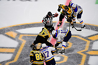 June 6, 2019: Boston Bruins center Patrice Bergeron (37) and St. Louis Blues center Brayden Schenn (10) take the face off during game 5 of the NHL Stanley Cup Finals between the St Louis Blues and the Boston Bruins held at TD Garden, in Boston, Mass. The Blues defeat the Bruins 2-1 in regulation time. Eric Canha/CSM