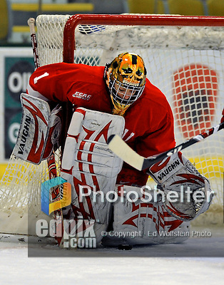 25 October 2008: Cornell University goaltender Kayla Strong, a Sophomore from Calgary, Alberta, makes a save in the first period against the University of Vermont Catamounts at Gutterson Fieldhouse, in Burlington, Vermont. The Big Red defeated the Catamounts 5-1 to sweep their 2-game series in Vermont...Mandatory Photo Credit: Ed Wolfstein Photo