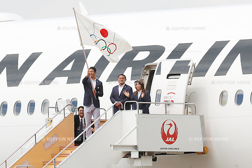 Keisuke Ushiro, Saori Yoshida (JPN), AUGUST 24, 2016 : The Olympic flag welcoming ceremony at Haneda Airport in Tokyo, Japan. The Olympic flag was received to Tokyo governor from IOC President at the Rio de Janeiro 2016 Olympic Games closing ceremony on August 21. Tokyo is host of the 2020 Olympic games. (Photo by Sho Tamura/AFLO SPORT)