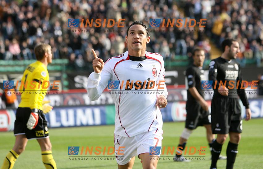 Ricardo Oliveira (Milan) celebrates after scoring<br /> Esultanza di Ricardo Oliveira dopo il gol<br /> Italian &quot;Serie A&quot; 2006-07<br /> 17 Feb 2007 (Match Day 24)<br /> Siena-Milan (3-4)<br /> &quot;Artemio Franchi&quot;-Stadium-Siena-Italy<br /> Photographer: Andrea Staccioli INSIDE