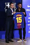 Presentation of Paulinho Bezerra as new player of the FC Barcelona.<br /> Josep M. Bartomeu &amp; Paulinho.