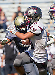 Palos Verdes, CA 09-07-18 - Eric Suarez (Torrance #6) and Haris Rao (Peninsula #27) in action during the Torrance - Palos Verdes Peninsula Varsity football game.