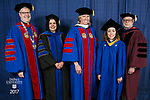 HDR/VIP Portraits - 2017 Commencement - College of Communication and College of Computing and Digital Media: The Rev. Dennis H. Holtschneider, C.M., president of DePaul University, Salma Ghanem, dean of the College of Communication, Marty Wilke, broadcast television executive and DePaul alumna, Deliana Andrea Escobari Ocampo, student speaker, David Miller, dean of the College of Computing and Digital Media. (DePaul University/Jamie Moncrief)