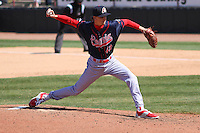Peoria Chiefs pitcher Tyler Bray (43) delivers a pitch during a game against the Wisconsin Timber Rattlers on April 25th, 2015 at Fox Cities Stadium in Appleton, Wisconsin.  Wisconsin defeated Peoria 2-0.  (Brad Krause/Four Seam Images)