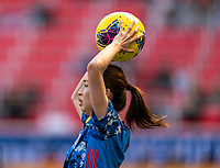 HARRISON, NJ - MARCH 08: Risa Shimizu #2 of Japan throws in the ball during a game between England and Japan at Red Bull Arena on March 08, 2020 in Harrison, New Jersey.