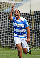 Paul Ifill celebrates his goal during the ISPS Handa Premiership football match between Team Wellington and Tasman United at David Farrington Park in Wellington, New Zealand on Sunday, 12 November 2017. Photo: Dave Lintott / lintottphoto.co.nz
