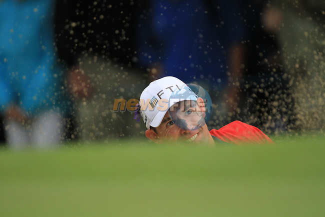 padraig Harrington playing his third shot from the bunker on 16 during day two of the 3 Irish Open, at the Killarney Golf and Fishing Club, Killarney, Ireland.Picture Fran Caffrey/www.golffile.ie.