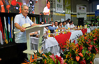 """TAMESIS, CO JULY 24: Colombian former president, opposition senator Alvaro Uribe speaks during """"Encuentro de Dirigentes del Suroeste"""" in Tamesis Antioquia on July 24, 2016.(Photo by VIEWpress/Guillermo Betancur)"""
