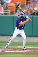Clemson Tigers shortstop Tyler Krieger #3 awaits a pitch during a game against the Florida State Seminoles at Doug Kingsmore Stadium on March 22, 2014 in Clemson, South Carolina. The Seminoles defeated the Tigers 4-3. (Tony Farlow/Four Seam Images)