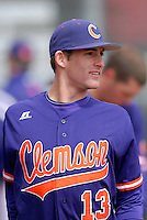 Clemson infielder Brad Miller prior to a game versus the Boston College Eagles at Shea Field in Boston, Massachusetts on April 16, 2011.  Photo by Ken Babbitt /Four Seam Images