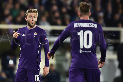 18.02.2016. Florence, Italy. UEFA Europa League football. Fiorentina versus Tottenham Hotspur. Jakub Blaszczykowski, Federico Bernardeschi Fiorentina