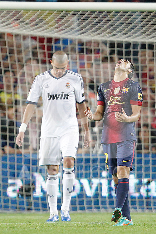 Barcelona's Pedro Rodriguez and Real Madrid's Pepe during la Liga match on october 7th 2012. ..Photo: Cesar Cebola  / ALFAQUI